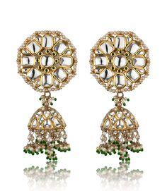 kundan Jhumki with emeralds and pearls, Jagdish Jewellers