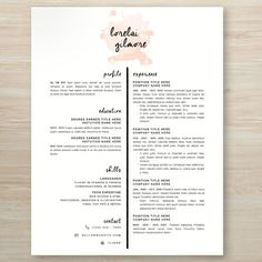 Lorelai Gilmore from Gilmore Girls inspired watercolor resume If you like this cv template. Check others on my CV template board :) Thanks for sharing! Resume Layout, Resume Tips, Resume Cv, Resume Examples, Resume Ideas, Resume Fonts, Resume Skills, Graphic Design Resume, Cv Design