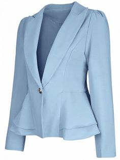 Product Name:Office Peplum Notch Lapel Single Button Solid Type:PlainOccasion:Formal / OfficePackage Included:Top / LapelSleeve:Long SleeveEmbellishment:Fl Blazers For Women, Suits For Women, Clothes For Women, Blue Blazers, Peplum Blazer, Blazer Jacket, Blazer Fashion, Suit Fashion, Plus Size Blazer