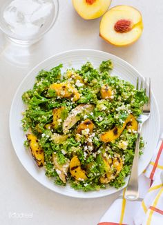 Superfood one meal salad with Peach Ginger Dressing. Perfect for hot summer days.
