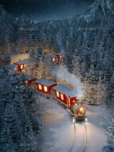 Amazing cute christmas train by Determined. Amazing cute christmas train goes through fantastic winter forest in north pole. Unusual christmas illustration Christmas Train, Christmas Gingerbread, Christmas Foods, All Things Christmas, Train Illustration