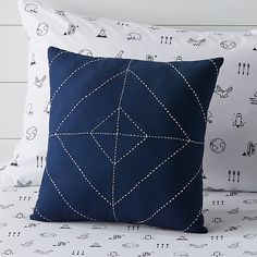 Blue Modern Throw Pillow at Crate and Barrel Canada. Discover unique furniture and decor from across the globe to create a look you love. Navy Blue Throw Pillows, Modern Throw Pillows, Decorative Pillows, Crate And Barrel, Modern Kids Beds, Navy Blue Bedrooms, Striped Bedding, Pillow Reviews, Kids Pillows