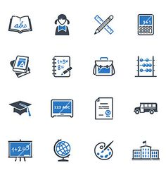 School and education icons set 1  blue series vector