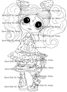 INSTANT DOWMLOAD Digital Digi Stamps Big Eye Big Head Dolls Digi  My Besties IMG896 By Sherri Baldy