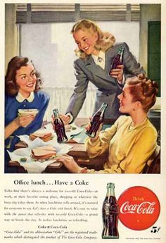 Coca-Cola Girls Office Lunch 1947 - Mad Men Art: The 1891-1970 Vintage Advertisement Art Collection