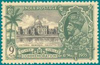 Date of Issue : 6May 1935 Occasion : Silver Jubilee of H.M. King George V reign Victoria Memorial, Calcutta Price : 9 P