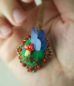 Touched by a Butterfly Necklace in Polymer Clay Woodland Jewelry