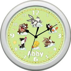 baby looney tunes for the nursery lamp | Personalized Baby Looney Tunes Nursery Clock Green