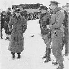 "Ritterkreuzträger and Kdr. of the SS-PzRgt 1 ""LSSAH"" SS-Stubaf. Jochen Peiper and Regiment's adjutant SS-Hstuf. GerhardNüske(in the middle) after Knight Cross ceremony for Michael Wittmann and Balthazar Woll on 18 January 1944 somewhere near Winniza (Ukraine)"