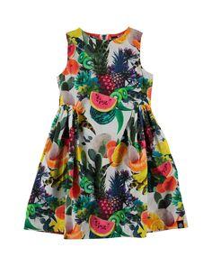 Sleeveless Cotton Fruit-Print Dress, Multicolor, Size 3-12, Size: 9-10, Fruits - molo