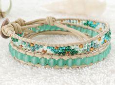 Ocean Green Sea Glass Bracelet Leather Wrap Bracelet by PinaHina