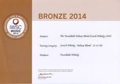 International Wine & Spirits Competition Quality Award Bronze 2014 The Tweeddale blended Scotch Whisky batch 4 Aged 14 Years