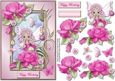 Fairy Roses And Butterflies Card Front on Craftsuprint designed by Judith Mary Howells - A5 size card front featuring a cute fairy peeping out among the roses in an ornate frame with butterflies. Decoupage pieces and a blank greeting plate for any other wording/occasion is included. - Now available for download!