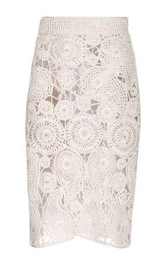 Silk Crochet Paisley Pencil Skirt (Orley)