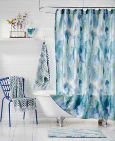Bluebellgray Cameron Teal Shower Curtain Coral Bathroom Sets Bathrooms Watercolor