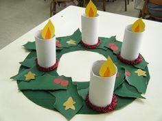 Corona de adviento                                                                                                                                                                                 Más Preschool Christmas Crafts, Christmas Activities For Kids, Xmas Crafts, Christmas Projects, Diy Crafts For Kids, Christmas Themes, Easter Crafts, Kids Christmas, Art For Kids