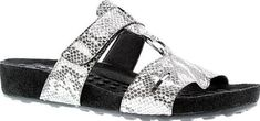 Walking Cradles Women's Shoes in Silver Snake Print Color. This slide from Walking Cradles is perfect for casual days in the sun. A wrapped sole and soft leather upper add style, while a Comfort Cradle insole keeps your feet happy.