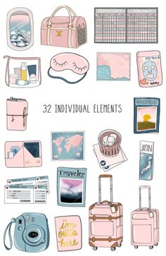 Getaway Clip Art Collection – What you will receive: Homemade Stickers, Diy Stickers, Free Printable Stickers, Bullet Journal Art, Bullet Journal Ideas Pages, Journal Stickers, Planner Stickers, Scrapbook Stickers, Kawaii Drawings