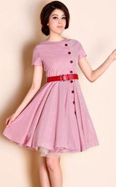 TS VINTAGE 1950s Button Stripe Belted Dress