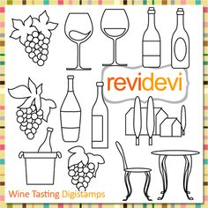 Wine glasses, bottles, and grapes stamps. Great for card making, digitized embroidey pattern, coloring, and more fun porjects!