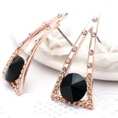 $3.25 - Pair of Characteristic Rhinestone Hollow Out Triangle Earrings For Women - Jewelry Wholesale - Wholesalerz.com