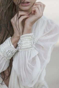 white blouse with beaded cuff Mode Boho, Fashion Details, Fashion Design, Mode Inspiration, Design Inspiration, Looking For Women, Boho Chic, Bohemian, Style Me