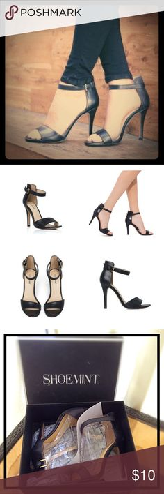 Shoemint Bovary Black Heels 7.5 Gently Worn Every girl needs a black ankle strap heel in her closet. This classic high-heeled sandal gets a modern flair with a thick in the back, thin in the front ankle cuff. Features adjustable buckle on the ankle strap. Size 7 1/2. True to size fit. Heel height is 4 1/2 inches. This classically cool beauty will take you from summer all the way to fall. I am downsizing and cleaning out my closet. No trades. Shoemint Shoes Heels