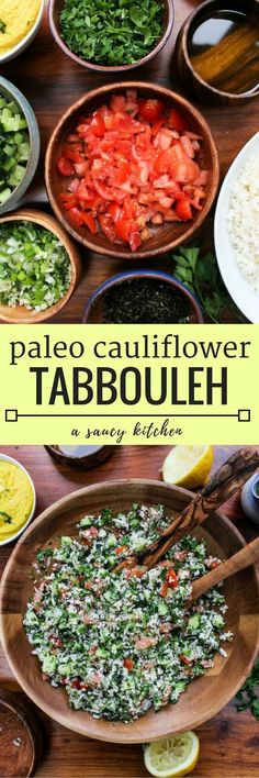 Cauliflower Tabbouleh - a Middle Eastern classic made gluten free | Vegan + Paleo + Whole 30(Whole Food Vegan Recipes)