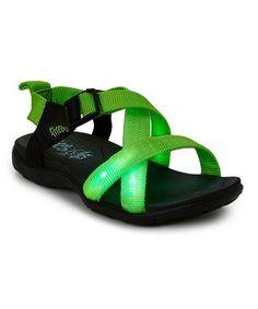 Green & Black Light-Up Sandal #zulily #zulilyfinds