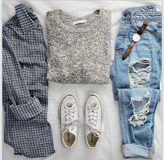 Cool casual look. Love the sweater and plaid but would probably not wear them together. Casual should FEEL comfortable. replace jeans with skinnies or (gasp) yoga pants. and the converse Fashion Mode, Look Fashion, Womens Fashion, Fashion Trends, Teen Fashion, Floral Fashion, Flat Lay Fashion, Fashion 2015, School Fashion