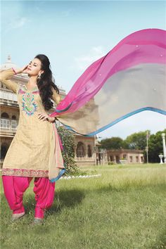 Creamy shaded Punjabi Suit