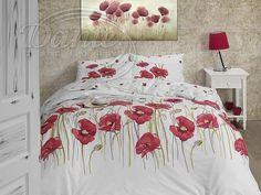 Působivé příjemné povlečení s velkými květy červených vlčích máků. Na bílém podkladu.     Povlečení je vzorováno z obou stran stejně.     Zapínání je na zip.     Povlečení je vyrobeno z hladké 100% bavlny. Comforters, Quilts, Blanket, Bed, Furniture, Home Decor, Google, Bedspreads, Creature Comforts