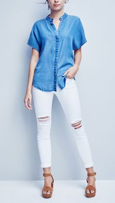 Loving the combination of chambray paired with crisp, white jeans. So on trend for spring!