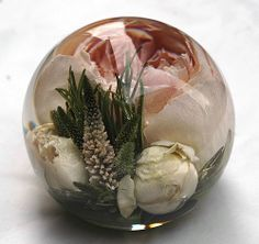 """One of our 3.5"""" designs in our multi flower paperweights priced at £139.95"""