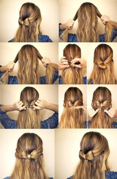 Pretty Half-up Half-down Bow Hairstyle Tutorial