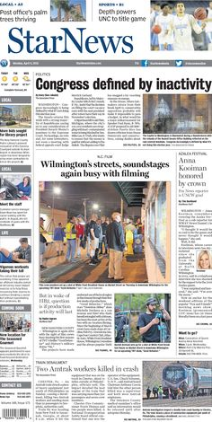 Front page for Monday, April 4, 2016