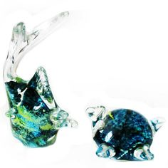 Phoenician glass fish and turtle paperweights... Maltese similar to Mdina glass