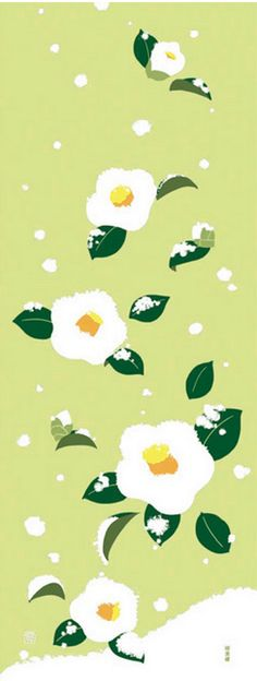 Japanese Tenugui Towel Fabric, Hand Dyed Fabric, Camellia Flower, Floral, Snow, Winter, Green Fabric, Cotton 100%, Wall Art Hanging, JapanLovelyCrafts