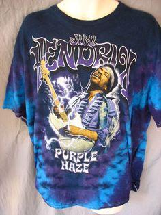 527d2c79 Jimi Hendrix Purple Haze Tie Dyed 2XL T Shirt XXL Rock & Roll Guitar  Legend