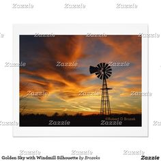 Golden Sky with Windmill Silhouette Photo Print