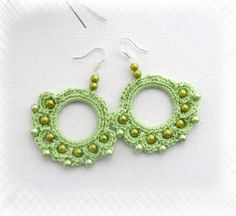 Crochet Beaded Earrings - Apple Green Circle Earrings - Pastel Earrings - Cotton Earrings