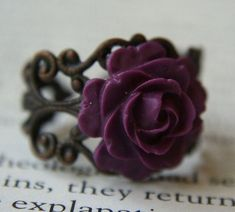 Gothic Rose Flower Ring, Mini Violet Purple