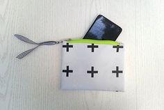 Cell phone pouch - Mini zipper pouch - White with black cross print Black Goldfish, Cell Phone Pouch, Zipper Pouch, Mini