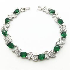 18K White Gold Link Chain Bracelets & Bangles Emerald Green Sapphire Tanzanite Jewelry