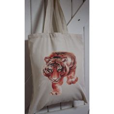 Tiger Eco tote bag made from recycled plastic bottles Tiger Recycle Plastic Bottles, Safari Animals, Pet Gifts, Watercolor Print, Bag Making, Personalized Gifts, Recycling, Tote Bag, Prints