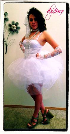 Madonna Like a Virgin Outfit- 80s Prom- Bachelorette Party Dress Outfit- Mini Version- Luxurious White Adult Tutu Skirt Corset Dress Costume by Dz9nr on Etsy https://www.etsy.com/listing/60184970/madonna-like-a-virgin-outfit-80s-prom