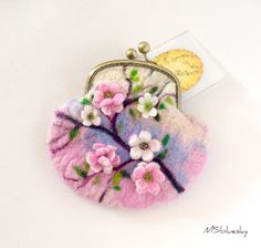 Sakura collection Wet felted purse