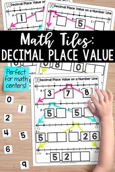 I love using number lines to teach decimal place value. These math tiles require students to identify various decimal numbers on number lines. This resource is perfect for math centers. Teaching Fractions, Math Fractions, Place Value With Decimals, Line Math, Teaching Place Values, Decimal Places, Teaching Critical Thinking, Decimal Number, Number Lines