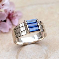 Sapphire Baguette Ring, Faceted Lab Made Sparkling Dark Blue Three-Stone 3-Stone Ring, Sterling Silver, September Birthstone, Size 6 1/2