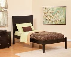 Concord Contemporary Espresso Wood Twin Platform Bed w/Open Foot Rail